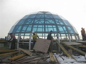 Prefab Light Weight Steel Structure Geodesic Glass Dome ...
