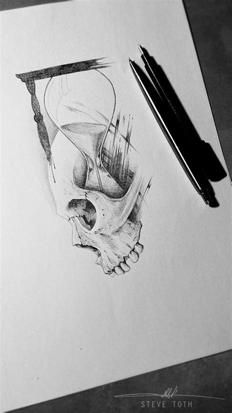 Skull and sand clock, tattoo design   Hourglass tattoo