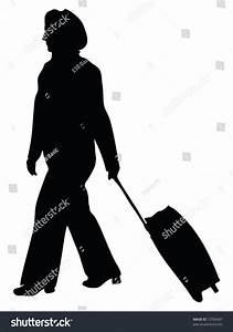 Business Woman Walking Along Her Suitcase Stock Vector ...