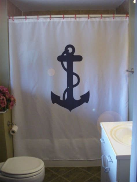 Anchor Rope Shower Curtain Ship Weigh Away Nautical Bath