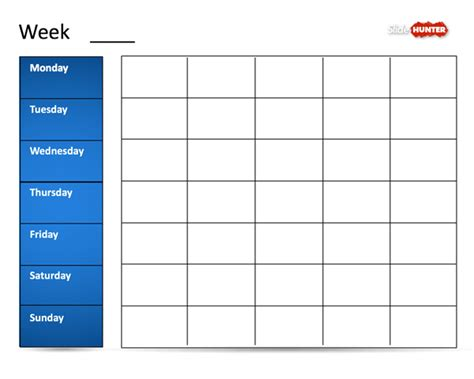 classic weekly calendar template  powerpoint