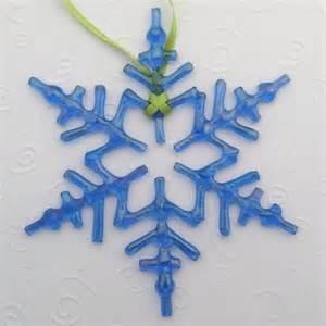 fused glass snowflake ornament suncatcher arctic blue iridescent