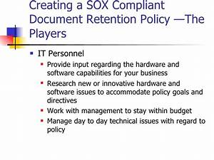sarbanes oxley primer on document retention policies With document retention software