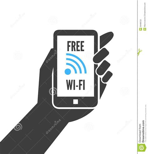 wifi on phone holding smartphone with free wifi stock vector