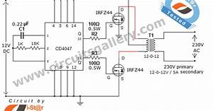 Simple Low Power Inverter Circuit  12v Dc To 230v Or 110v Ac  Diagram Using Cd4047 And Irfz44