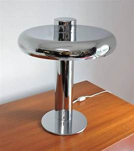 Laurel lamp co mid century modern chrome offset table for Off set floor lamp