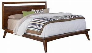 Furniture Brown Wooden Platform King Size Bed With Head
