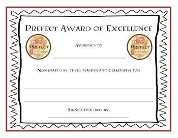 harry potter prefect award certificates  teaching