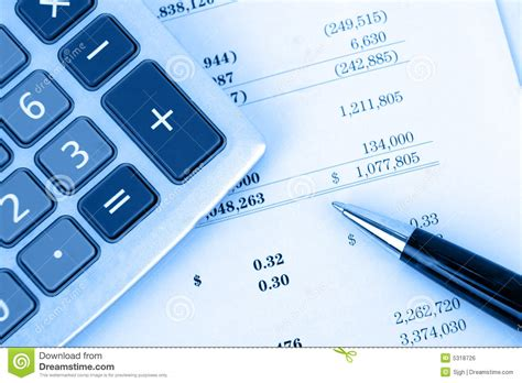 free background report calculator on financial report with blue background stock