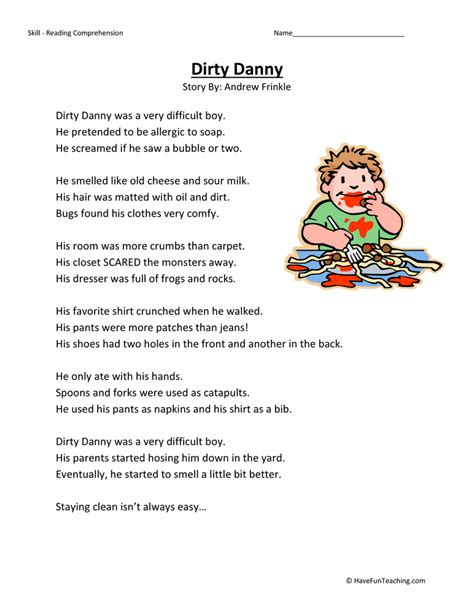 danny second grade reading comprehension worksheet