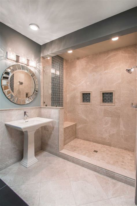 elegant beige taupe  cream colored bathroom tile