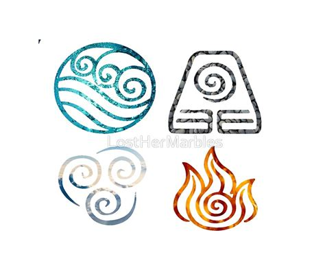 quot avatar the last airbender element symbols quot posters by losthermarbles redbubble