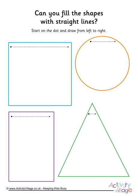 handwriting readiness fill shapes  straight lines