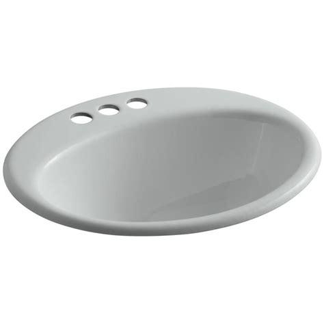 kohler farmington bathroom sink shop kohler farmington ice grey cast iron drop in oval