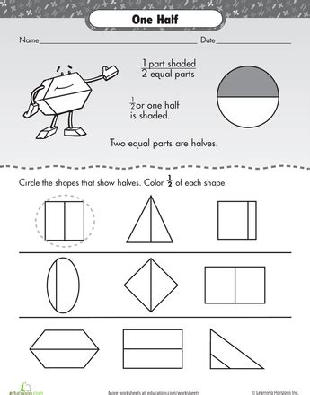 fraction frenzy one half worksheets math and kindergarten