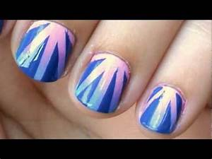 Gradient Nail Art Tutorial Using Tape Easy - YouTube