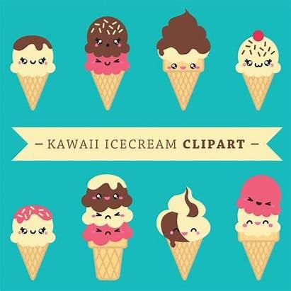 Clipart Kawaii Vector Ice Clip Creams Icecreams