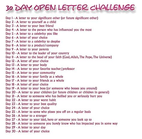 rs daily challenge 30 day open letter challenge i didn t make this heck lette