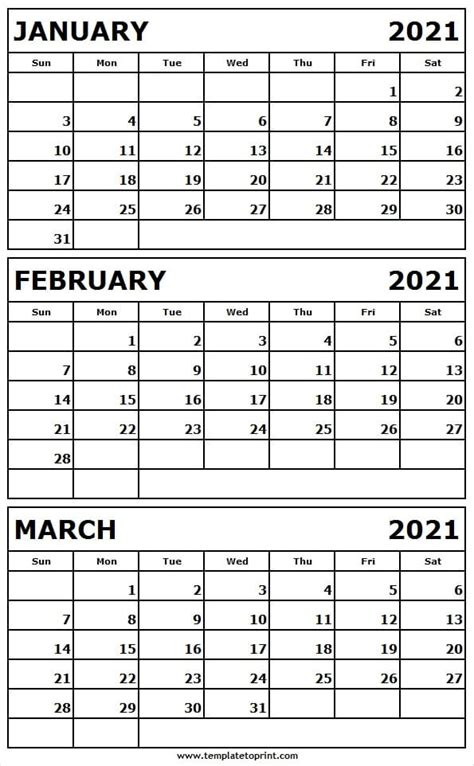 printable jan  mar  calendar template editable