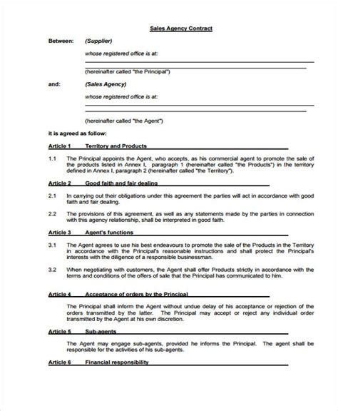 agent contract template   word  format