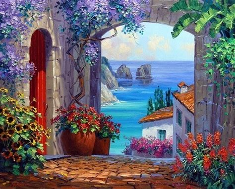 choisir peinture chambre belles images de paysages en espagne avec la mer et des fleurs