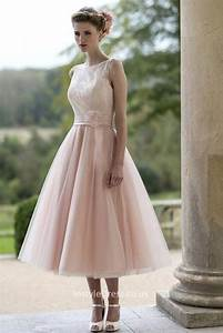 blushing pink tulle illusion informal tea length wedding With pink tea length wedding dress