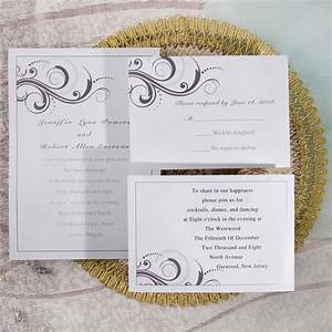Simple white and grey inexpensive printable wedding for Simple wedding invitations with pictures