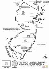 Jersey Coloring Map Pages York Printable Peninsula Upper Stencil Michigan Print Town Template Drawing Western Sketch Adults Categories sketch template