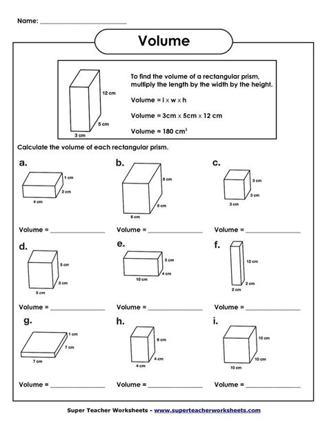 Volume Of Rectangular Prism Worksheet  Volume Worksheets  Projects To Try Pinterest