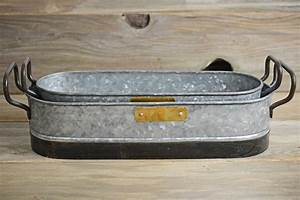 Planter Trays Metal Galvanized With Handles — Cablecarchic