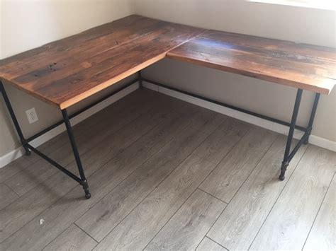 reclaimed wood corner desk l desk corner desk reclaimed wood steel pipe base