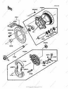 Kawasaki Motorcycle 1986 Oem Parts Diagram For Rear Hub