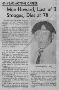 Three Stooges Moe Howard Death