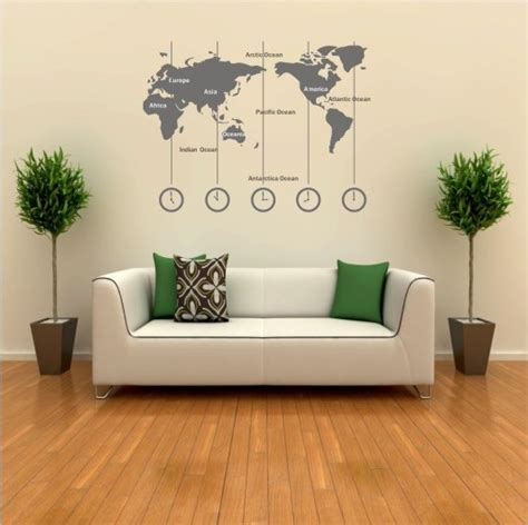 wall clock map decal vinyl sticker zone removable wold storenvy