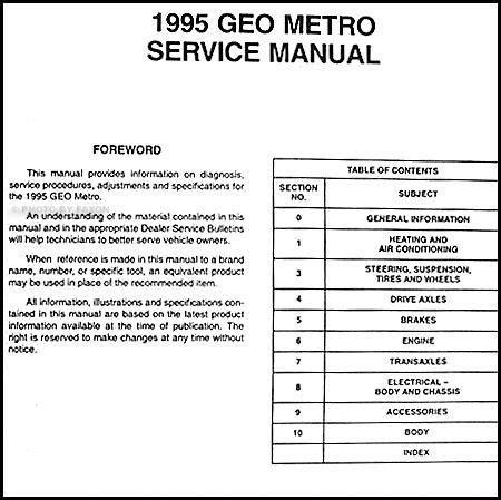 Geo Metro Preliminary Repair Shop Service Manual