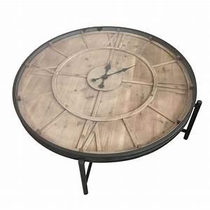 Table Basse Metal Ronde : table basse ronde avec horloge en m tal et pin 106x106x37cm ferscott ~ Teatrodelosmanantiales.com Idées de Décoration