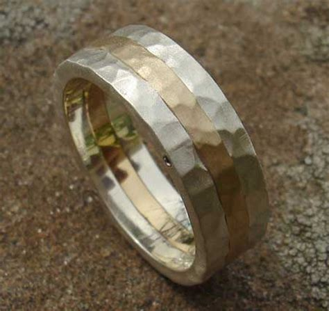 mens hammered silver gold wedding ring online in the uk
