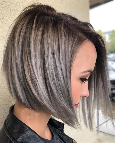 asymmetrical short haircuts with balayage highlights 2018