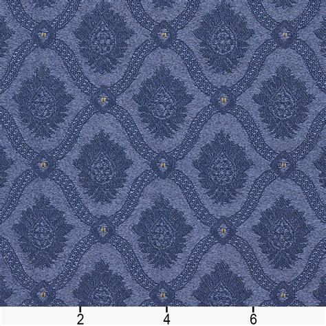 Brocade Upholstery Fabric - a495 navy and gold two toned brocade medallion upholstery