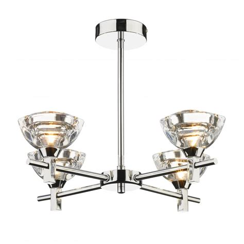 modern semi flush ceiling light fitting clear sculptured