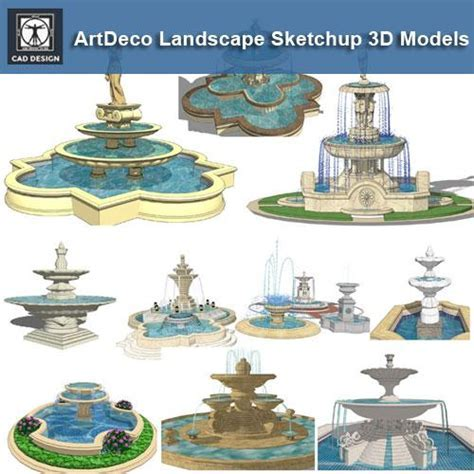 European Fountain Landscape Sketchup 3D Models(Best