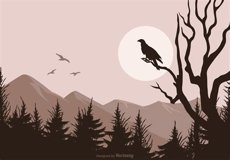 buzzard silhouette isolated  vector landscape background