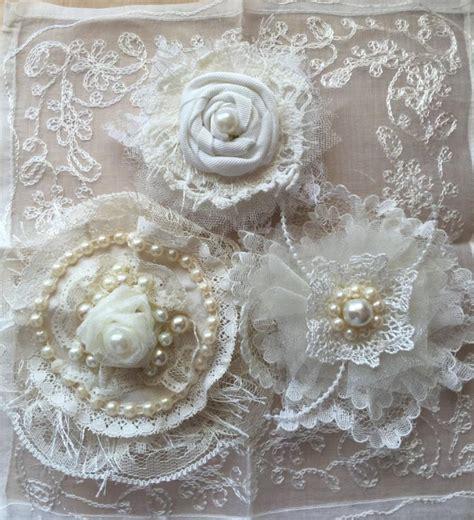 shabby chic wedding flowers decor wedding hair flower wedding decor shabby chic fabric flower ivory lace bridal flower girl