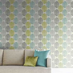 Arthouse Retro Leaf Wallpaper in Teal and Green 408207