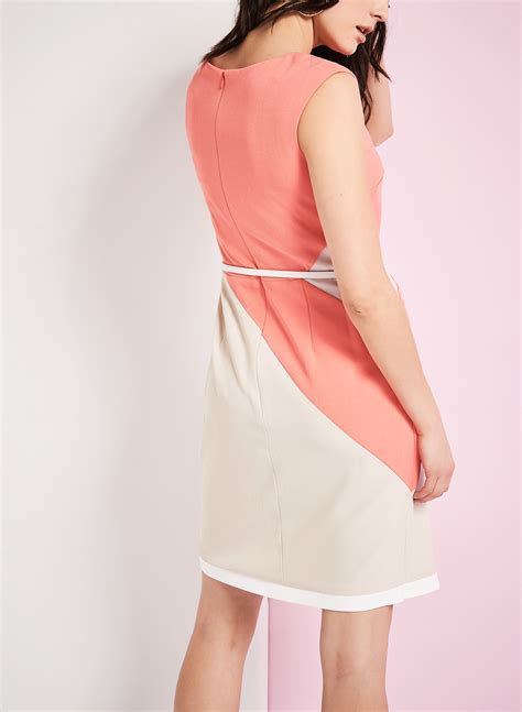 Colour Block Belted Crêpe Dress  Free Shipping* Laura
