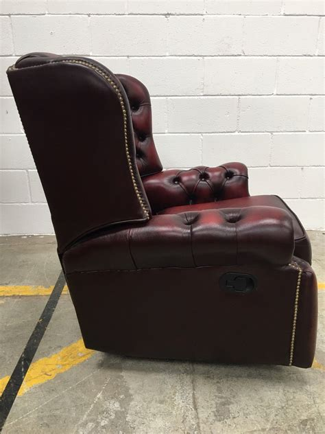 oxblood leather monk high back saxon chesterfield recliner