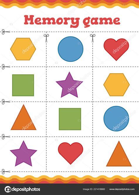 memory game  preschool children learn shapes