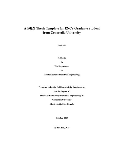 Template Tex Engineering Master Thesis by Latex Thesis Template For Concordia University Students By