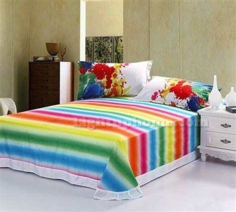 homeofficedecoration rainbow colored bedding
