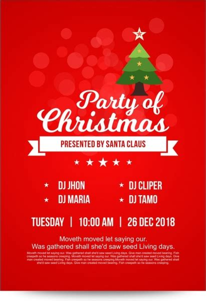 Bright red christmas party invitation card with decorated